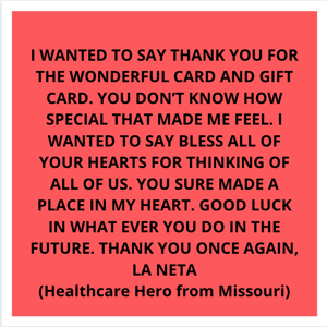 Message from Healthcare Hero in Missouri